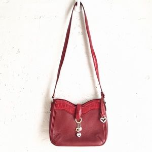 Brighton red pebbled leather embossed croc bag